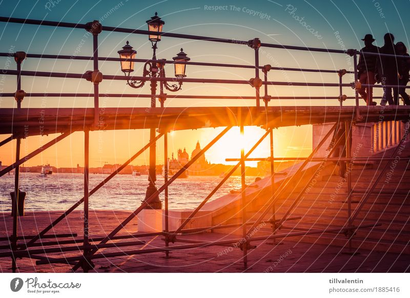 Venice Sunset Landscape Water Sunrise Coast River bank Manmade structures Going Lamp Lantern Scaffolding Stairs Silhouette Sky Colour photo Multicoloured