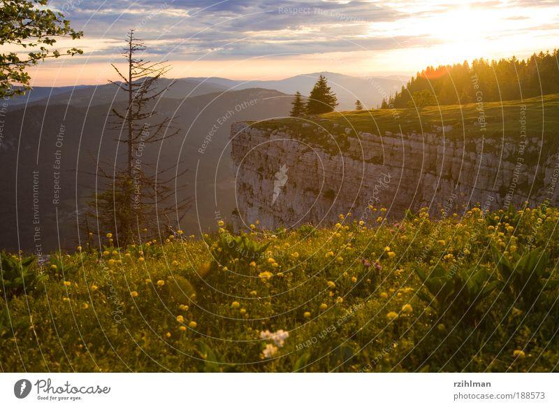 Creux Du Van Nature Landscape Sky Clouds Horizon Sun Sunrise Sunset Summer Tree Hill Rock Mountain Canyon Moody Happy Warm-heartedness Infatuation Life Dream