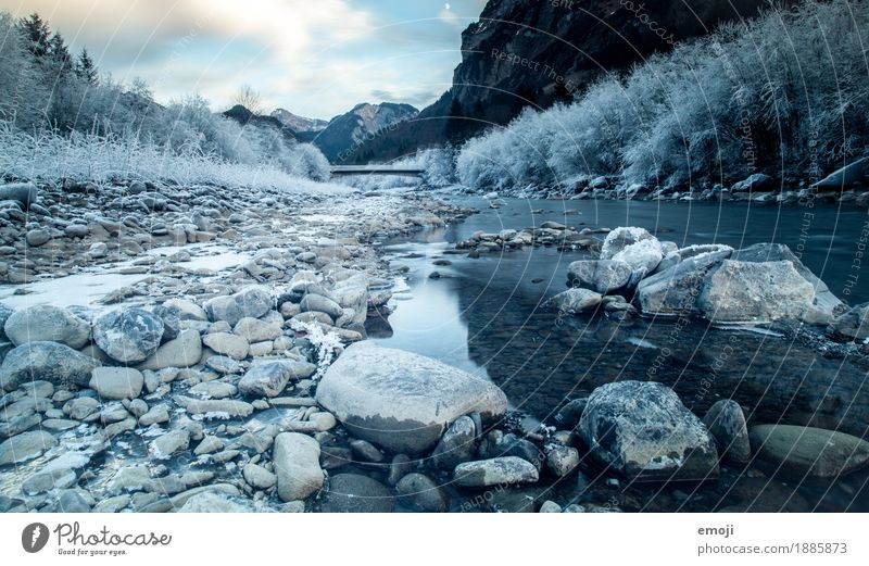 frosty II Environment Nature Landscape Winter Ice Frost River Cold Blue Riverbed Colour photo Exterior shot Deserted Day Wide angle