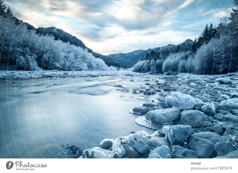 frosty Environment Nature Landscape Winter Ice Frost River Cold Blue Stone Riverbed Colour photo Exterior shot Deserted Day Long exposure Motion blur Wide angle