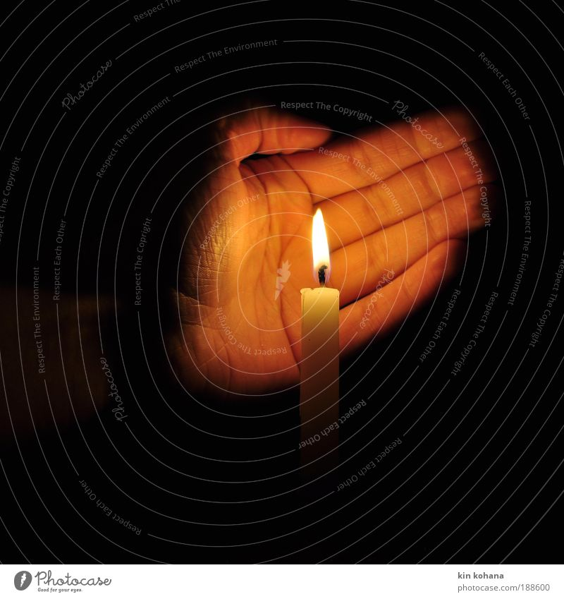 Hand White Calm Dark Cold Warmth Power Elements Gold Hope Safety Candle Romance Protection Trust Warm-heartedness
