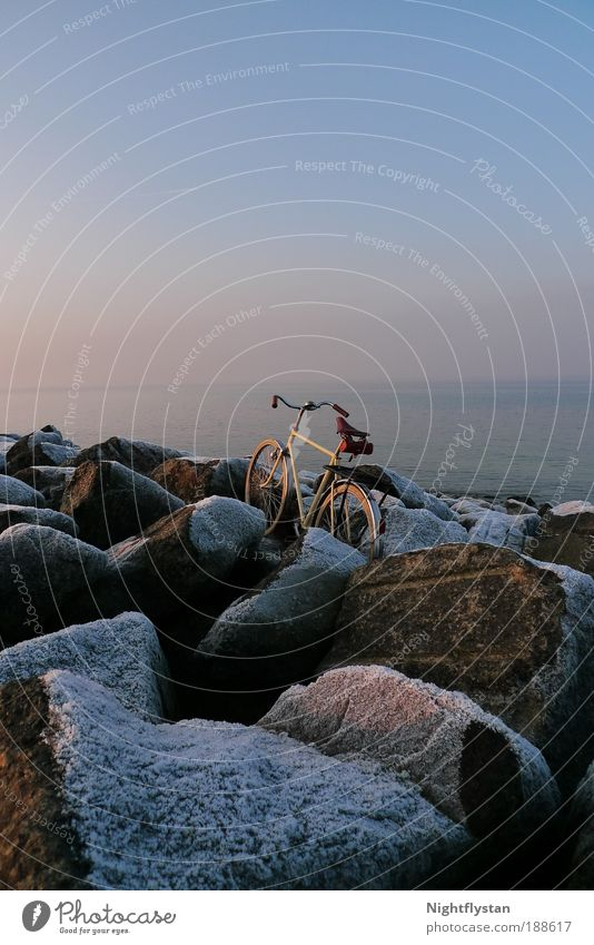 (D)wheel without donkey Environment Nature Landscape Elements Water Sky Horizon Sunrise Sunset Winter Beautiful weather Ice Frost Snow Rock Coast North Sea