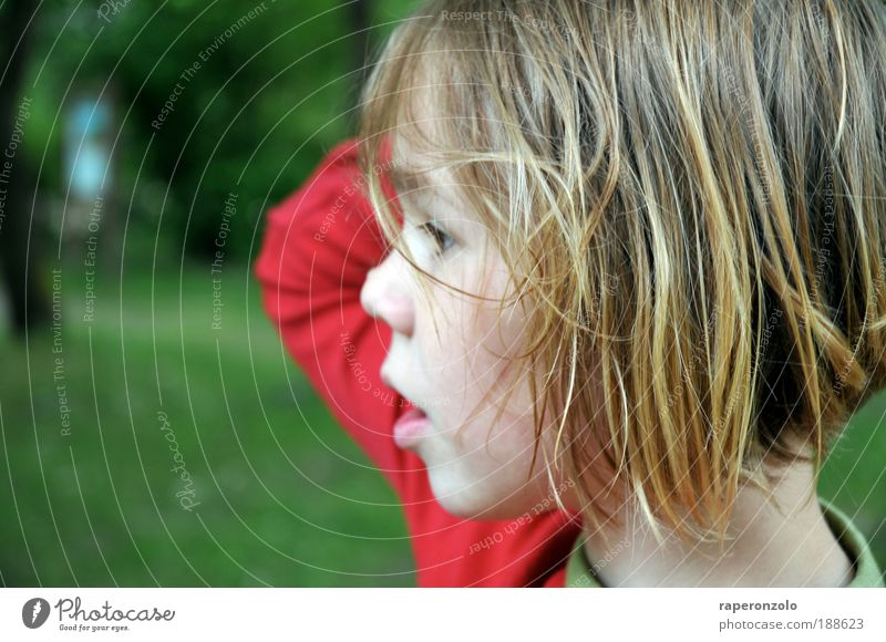 a blink of an eye thoughtfulness Child Girl Infancy Head Hair and hairstyles Face Nose Mouth Arm 1 Human being 8 - 13 years Observe Authentic Green Red Longing