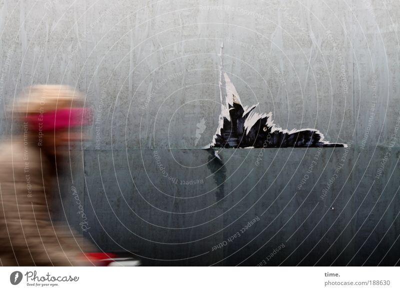Fietsmeisje Woman Adults Paper Driving Speed Gray Red Wall (building) Cardboard Dismantling Crack & Rip & Tear bike Billboard Hoarding Headband