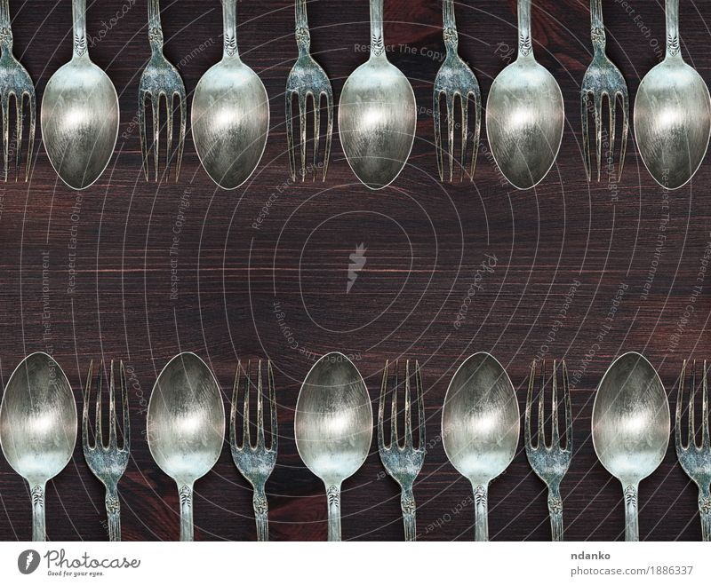 Wooden background with vintage spoons and forks Old White Brown Above Metal Retro Vantage point Table Kitchen Steel Dinner Top Meal Tool Surface