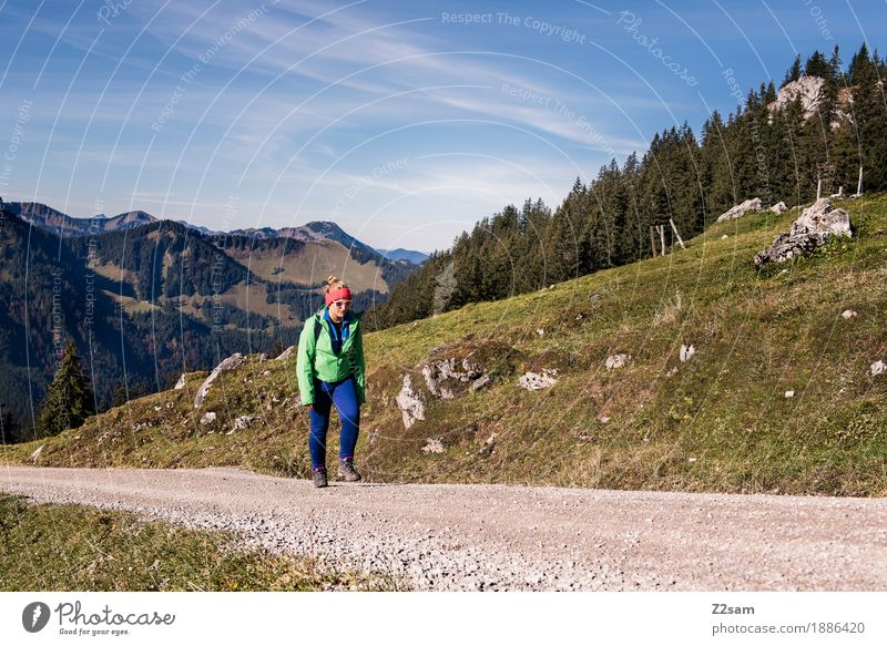 Nature Youth (Young adults) Green Young woman Landscape Relaxation Calm 18 - 30 years Mountain Adults Autumn Lanes & trails Natural Sports Going Hiking