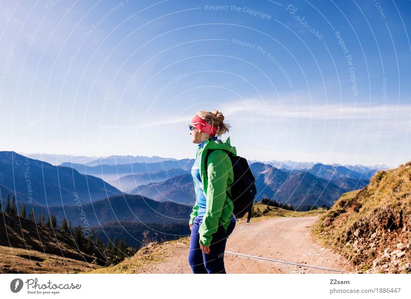Nature Vacation & Travel Youth (Young adults) Green Young woman Sun Landscape Relaxation 18 - 30 years Mountain Adults Autumn Sports Happy Leisure and hobbies Dream