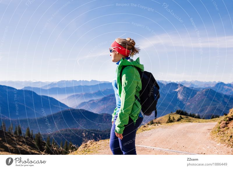 emperor's weather Lifestyle Adventure Mountain Hiking Sports Young woman Youth (Young adults) 18 - 30 years Adults Nature Sky Autumn Beautiful weather Alps Peak