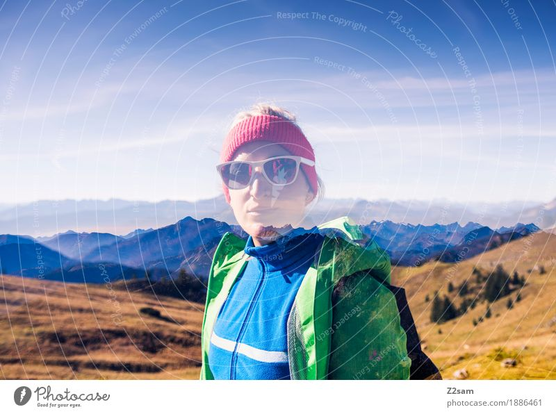 Double holds better Adventure Mountain Hiking Young woman Youth (Young adults) 18 - 30 years Adults Nature Landscape Sky Autumn Beautiful weather Alps