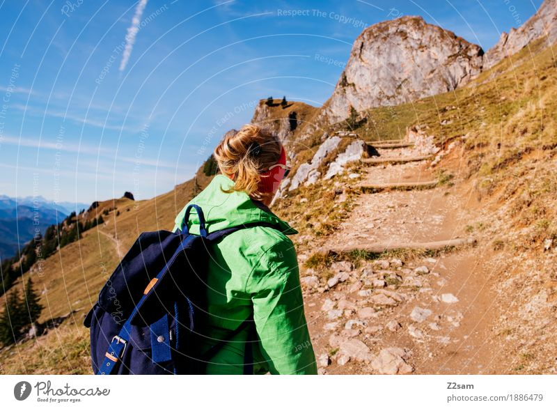 Get up! Get up! Leisure and hobbies Adventure Mountain Hiking Sports Young woman Youth (Young adults) 18 - 30 years Adults Nature Landscape Autumn