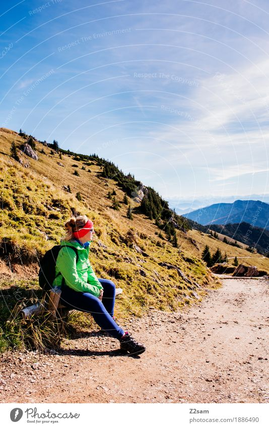 First break Lifestyle Adventure Mountain Hiking Sports Young woman Youth (Young adults) 30 - 45 years Adults Nature Landscape Autumn Beautiful weather Alps Peak