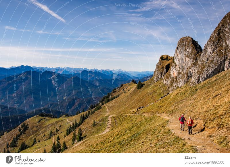 Rotwand Lifestyle Adventure Mountain Hiking Sports 2 Human being Nature Landscape Autumn Beautiful weather Meadow Alps Peak Relaxation Going Natural Green