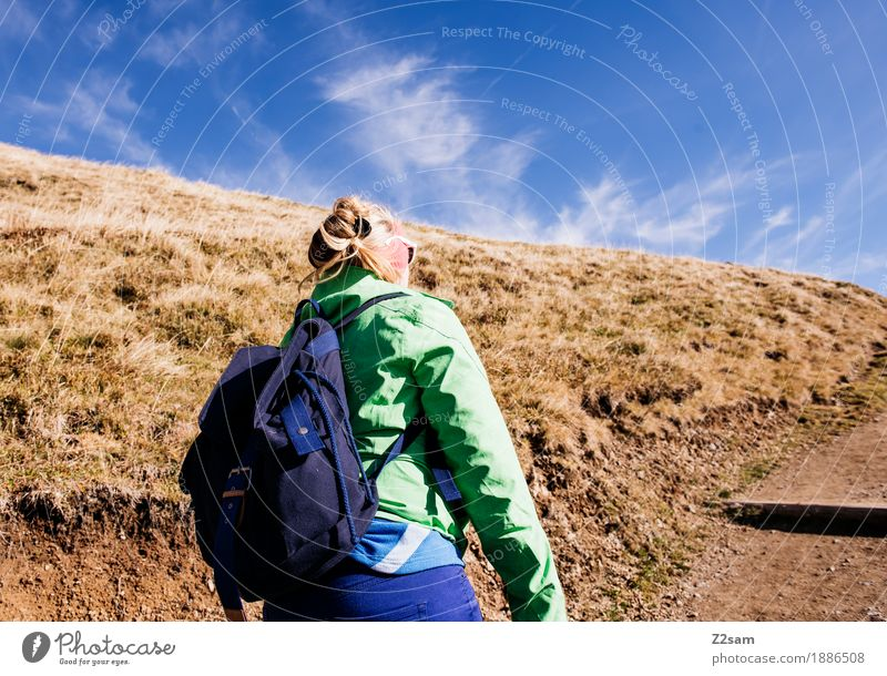 Come on, come on! Adventure Mountain Hiking Sports Young woman Youth (Young adults) 18 - 30 years Adults Nature Autumn Beautiful weather Meadow Alps