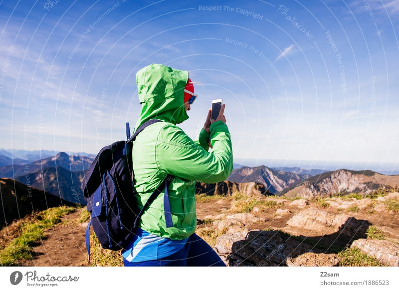 Nature Youth (Young adults) Green Young woman Landscape Relaxation Mountain Adults Autumn Sports Leisure and hobbies Hiking Idyll Beautiful weather Adventure Peak