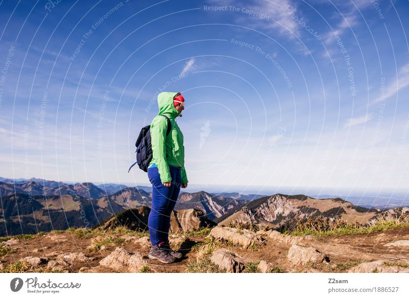Nature Youth (Young adults) Blue Green Young woman Landscape Relaxation Loneliness Calm Far-off places Mountain Adults Autumn Sports Freedom Horizon