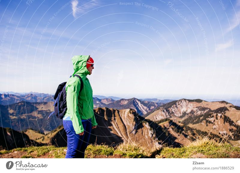 Nature Vacation & Travel Youth (Young adults) Green Young woman Landscape Relaxation 18 - 30 years Mountain Adults Lifestyle Sports Leisure and hobbies Hiking Idyll Stand