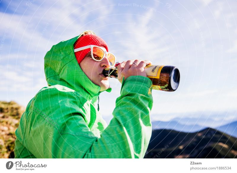 tophoibe Drinking Beer Lifestyle Vacation & Travel Adventure Mountain Hiking Young woman Youth (Young adults) 18 - 30 years Adults Nature Landscape Sun Autumn
