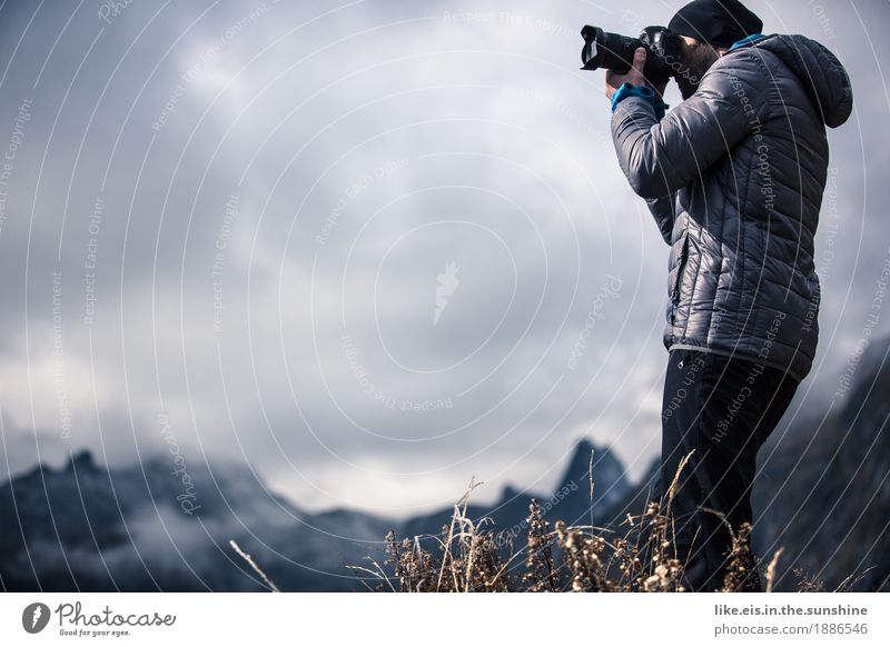 Human being Nature Vacation & Travel Youth (Young adults) Man Young man Landscape Clouds Far-off places Mountain Adults Life Freedom Rock Masculine Trip