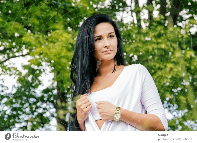 Human being Nature Youth (Young adults) Summer Green Young woman White Tree Eroticism 18 - 30 years Adults Feminine Park Contentment Esthetic Beautiful weather