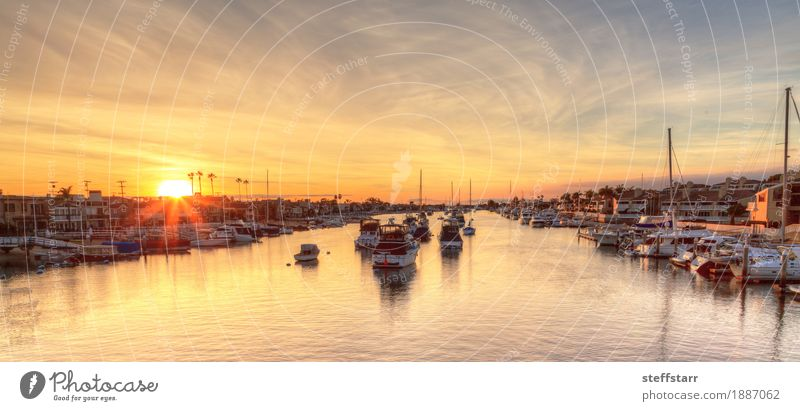 Balboa Island harbor at sunset Vacation & Travel Tourism Adventure Sun Ocean Landscape Coast Fjord Boating trip Fishing boat Sport boats Yacht Motorboat