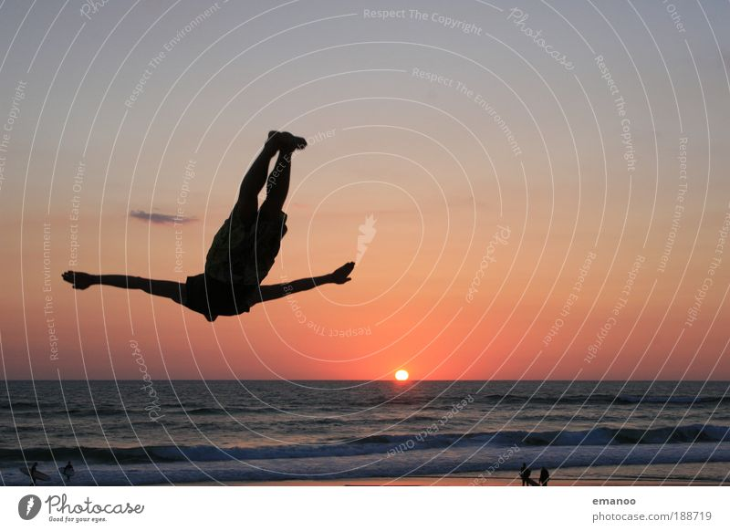Sunset flyer Lifestyle Leisure and hobbies Vacation & Travel Summer Summer vacation Beach Ocean Fitness Sports Training Gymnastics Trampoline Masculine