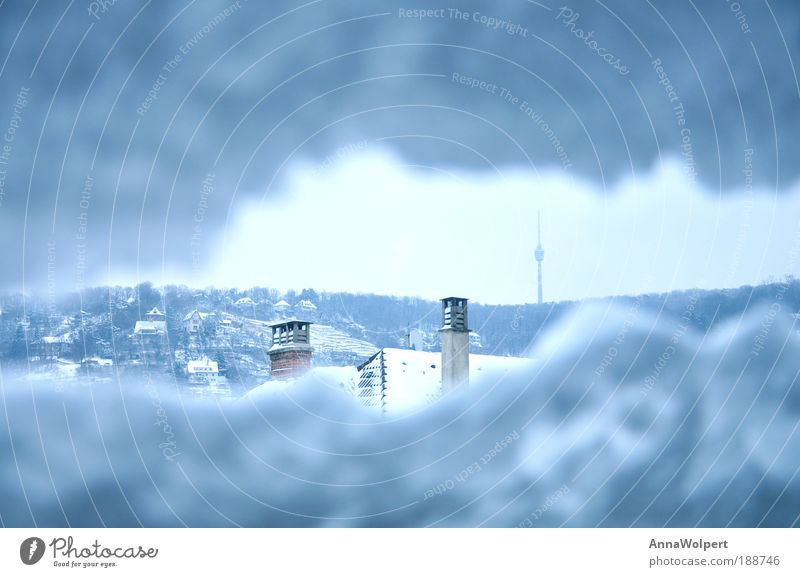Stuttgart - snowed in Freedom Winter Snow TV set Sky Gale Ice Frost Hail Glacier Town Outskirts Manmade structures Antenna Television tower Looking Tall Cold