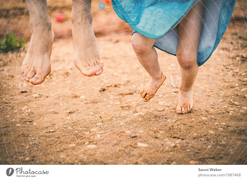 Human being Nature Blue Summer Joy Beach Adults Warmth Life Emotions Legs Boy (child) Family & Relations Happy Feet Brown