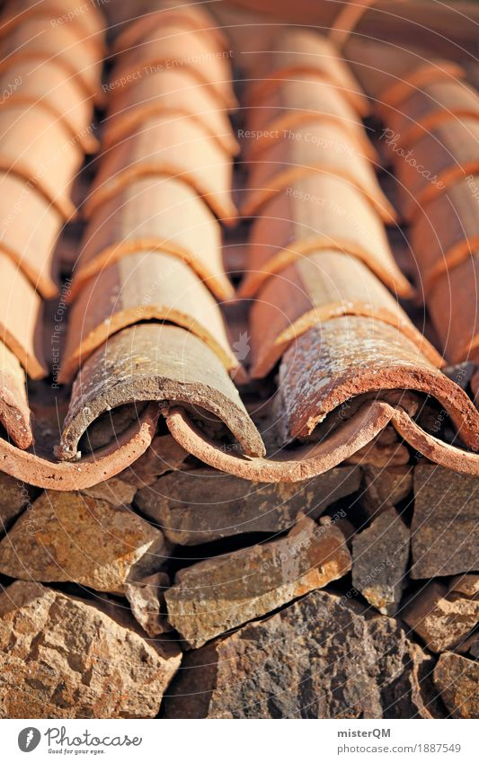 Roof tile II Art Esthetic Eaves Gable Roofing tile Roofer Attic story Orange Mediterranean Historic Craft (trade) Construction site Brick Tiled roof
