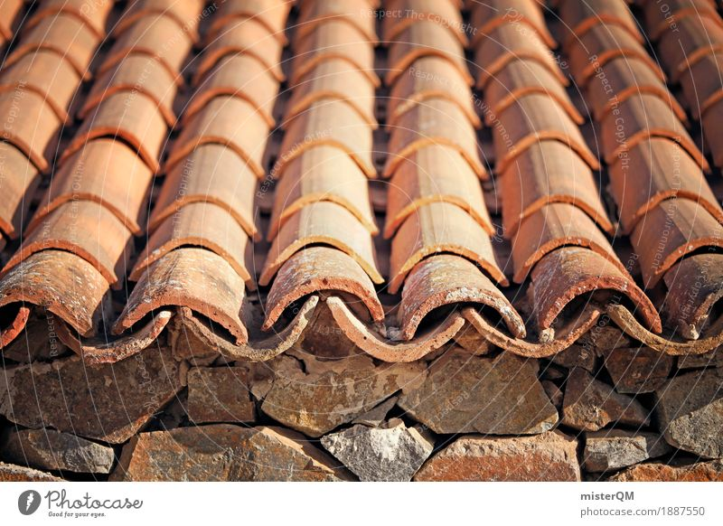 Roof tile I Art Esthetic Brick Orange Many Eaves Roofing tile Attic story Stone Row Mediterranean Historic Old building Colour photo Multicoloured Exterior shot