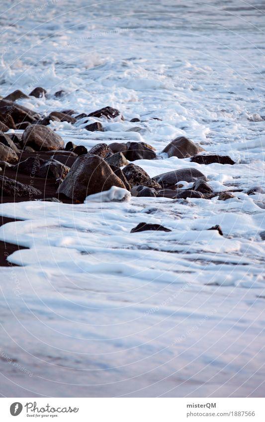 Flood. Art Esthetic Ocean Coast Water Stone Cliff Elements Waves White crest Foam Surf Rock Vacation photo Colour photo Subdued colour Exterior shot Close-up