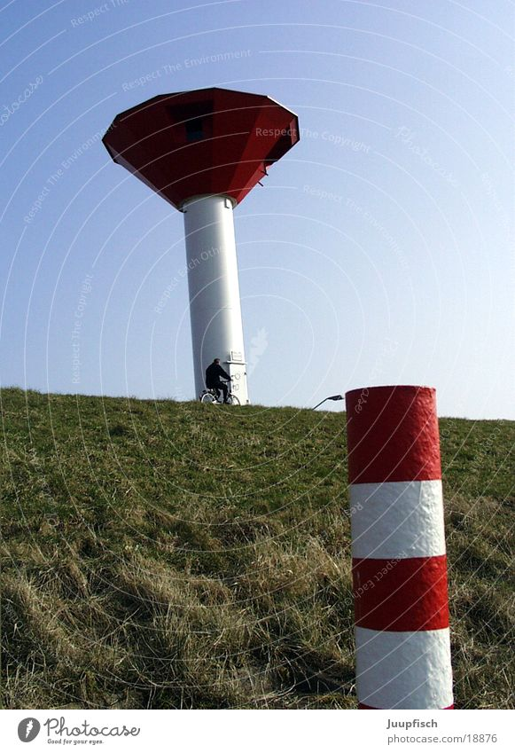 Tower and turret Dike Leisure and hobbies Beacon Ocean Bremerhaven Things illuminated strand North Sea Reddish white
