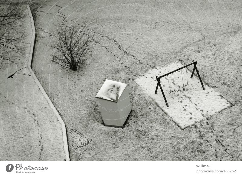 the meeting point Winter Climate Ice Frost Snow Bushes Meadow Deserted Playground Swing Snow layer Gray Cold Footprint undergrowth Virgin snow Meeting point