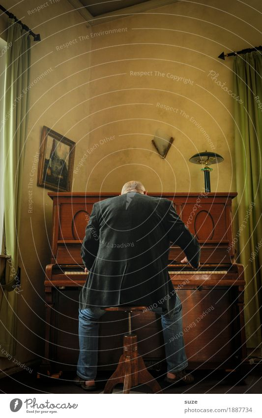 The Pianist Style Leisure and hobbies Music Human being Masculine Man Adults Male senior Back 1 45 - 60 years Culture Concert Musician Piano Jacket Listening