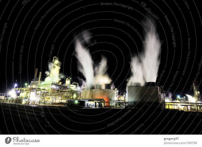 Industrial plant at night Industry Technology Environment Landscape Plant Air Sky Outskirts Factory Building Chimney Steel Oil Dark Black White Energy chemical