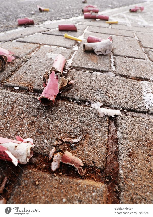 Joy Feasts & Celebrations Dirty Happiness Empty Joie de vivre (Vitality) Fear of the future Event New Year's Eve Trash Fatigue Euphoria Firecracker