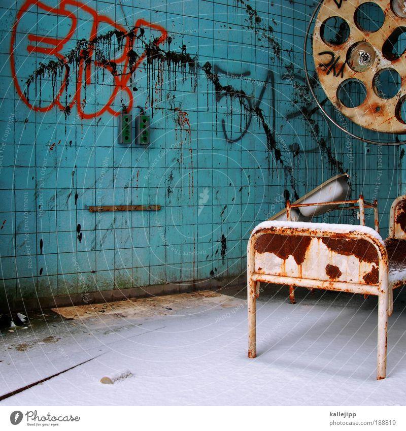 Old Graffiti Lamp Lighting Dirty Health care Broken Transience Derelict Tile Decline Rust Hospital Shabby Bizarre Ruin