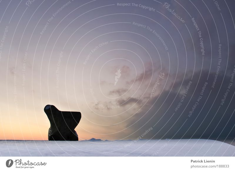 icebox Sky Clouds Winter Snow Ocean Calm Bench Stone Vantage point Denmark Silhouette Break Cold Wind Colour photo Exterior shot Deserted Copy Space right