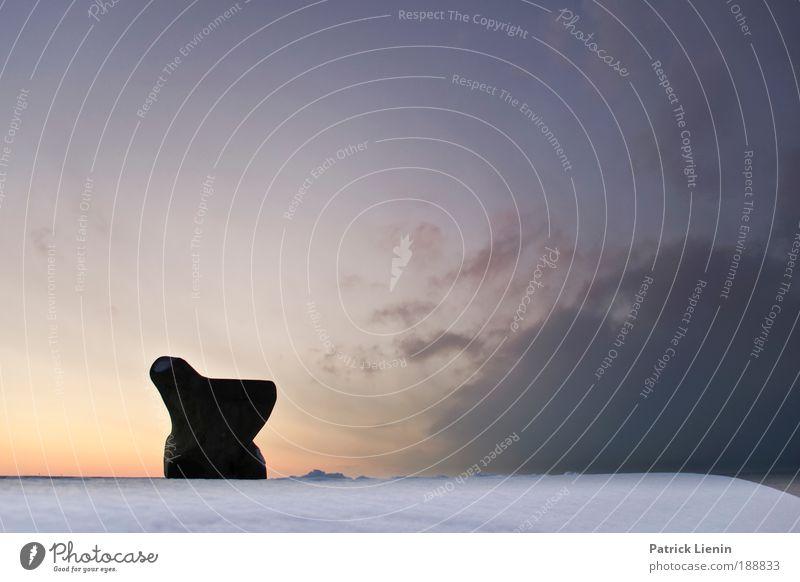 Sky Ocean Winter Calm Clouds Cold Snow Stone Wind Break Bench Vantage point Denmark Scandinavia
