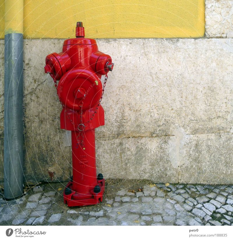 The burning red Town Port City Old town Wall (barrier) Wall (building) Street Red Safety Fire hydrant Fire department Paving stone Cobblestones Downspout Dirty