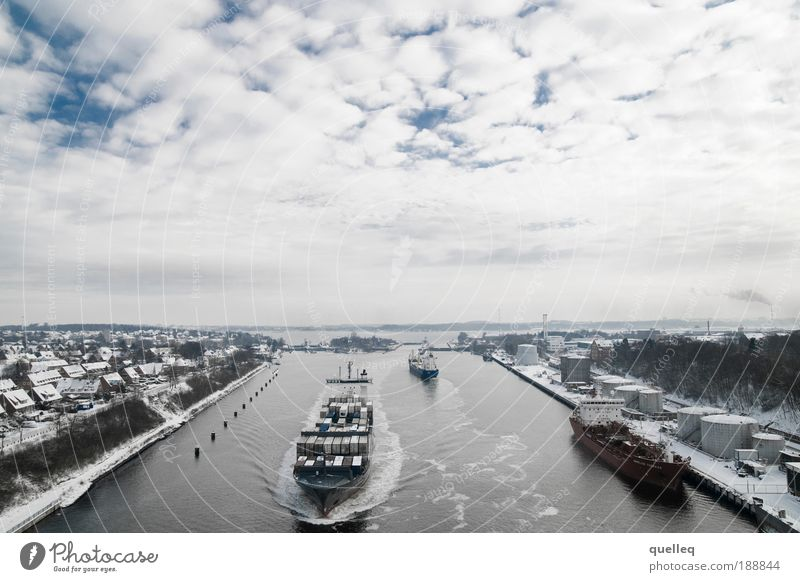 Traffic on the waterway Navigation Inland navigation Container ship Harbour Waterway Floodgate Kiel Channel Horizon Performance Perspective Vacation & Travel