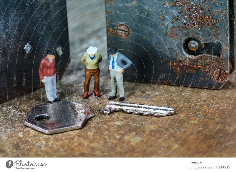 Miniwelten - What now? Profession Craftsperson Construction site Services Technology Human being Masculine Man Adults 3 Metal Brown Door lock Keyhole Screw Rust