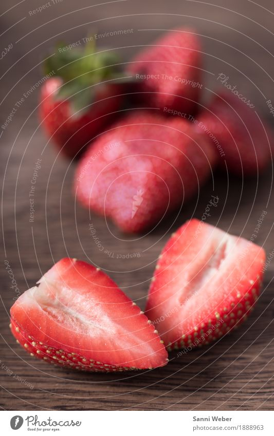 strawberries Food Fruit Nutrition Organic produce Shopping Summer Plant Wood Lie Green Red Moody Fragrance Colour photo Interior shot Close-up Detail Deserted