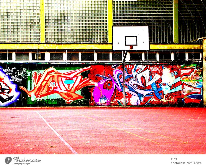 playground Sports Basketball Graffiti Contrast Basketball arena Basketball basket Deserted Multicoloured Glass wall Gymnasium Schoolyard Exterior shot