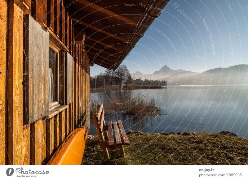 Nature Vacation & Travel Landscape Relaxation Loneliness House (Residential Structure) Calm Window Mountain Yellow Autumn Meadow Germany Lake Orange