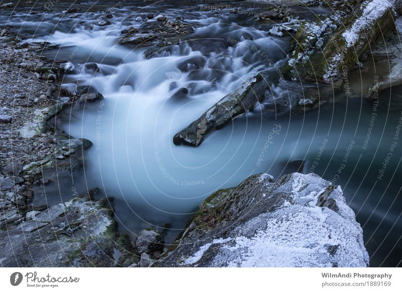 Mystic Water Winter Landscape River bank Brook Germany Europe Deserted Relaxation Happy Contentment Joie de vivre (Vitality) Power Frost Long exposure Cold