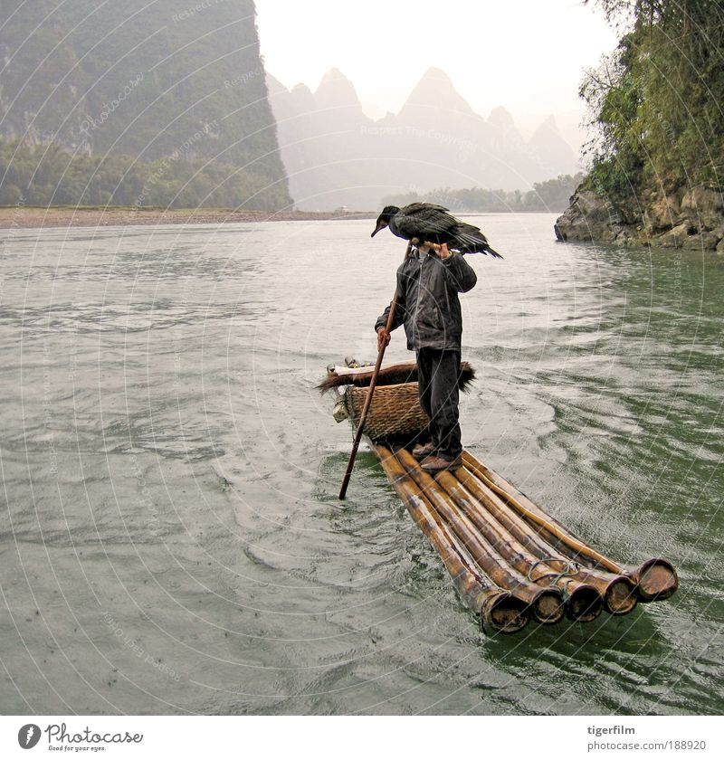 birdman of china Beautiful Fishing (Angle) Vacation & Travel Mountain Landscape Water Fog Rain Hill Peak Dinghy Watercraft Bird Carrying Fisherman Rafts