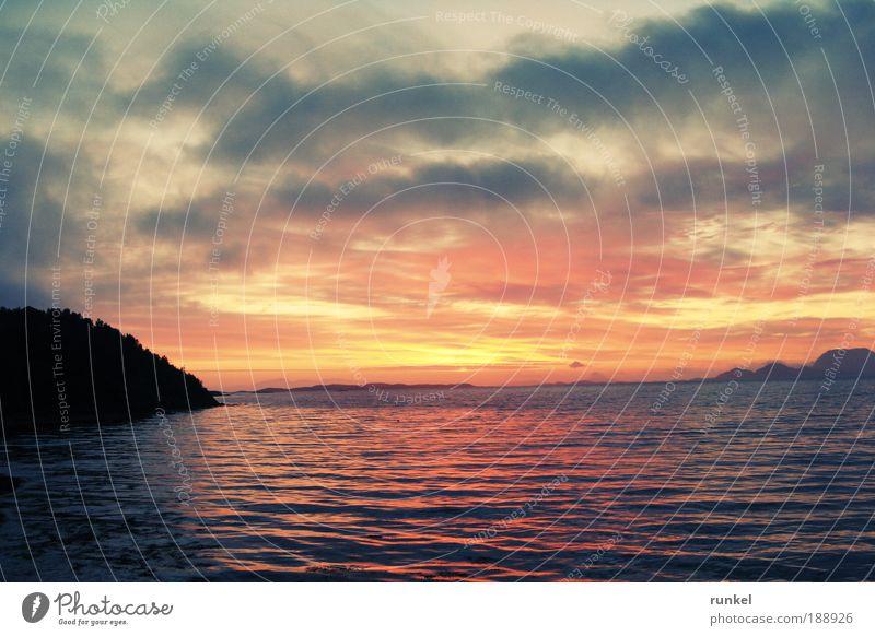 midnight sun Harmonious Calm Vacation & Travel Freedom Ocean Nature Landscape Water Clouds Horizon Sunrise Sunset Summer Fjord Blue Yellow Gold Moody
