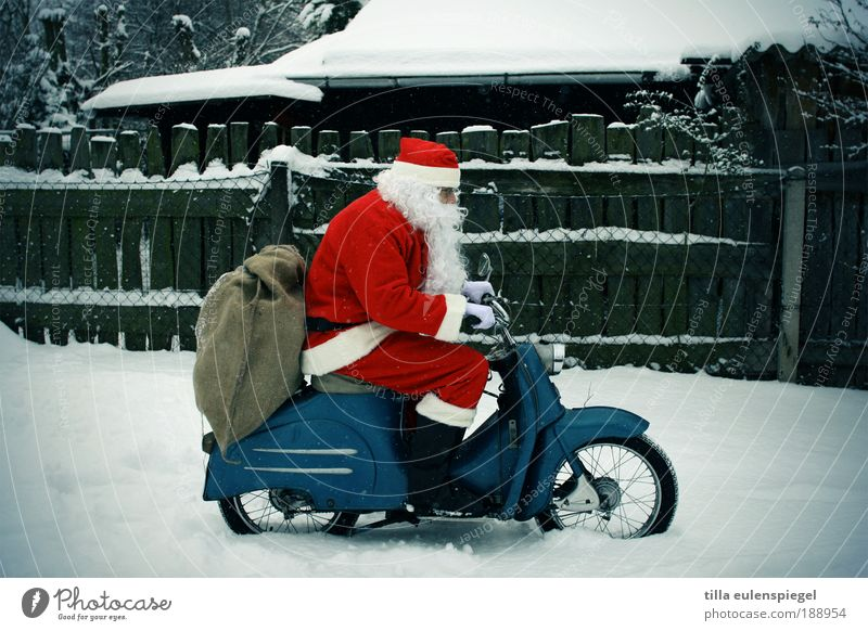 Human being Man Blue Old Christmas & Advent Red Winter Adults Street Masculine Speed Trip Gift Desire Driving Logistics
