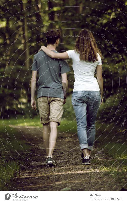 A common path Harmonious Contentment Calm Masculine Feminine Couple Partner 2 Human being Environment Nature Landscape Forest Lanes & trails Fashion T-shirt