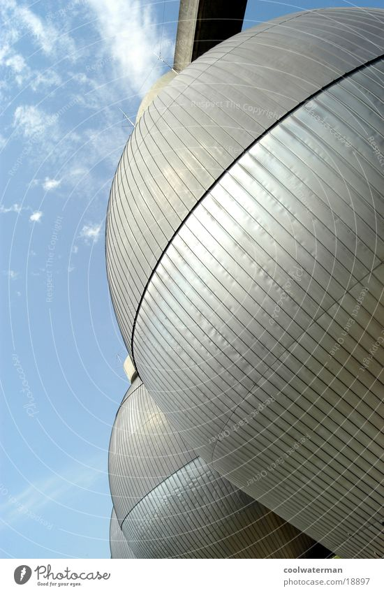 metal eggs Clouds Environment Sewage plant Round Style Architecture Industrial Photography Metal Gas Modern